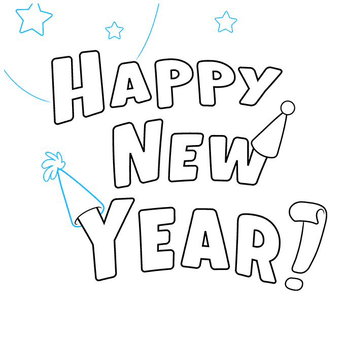 How to Draw Happy New Year Card: Step 5