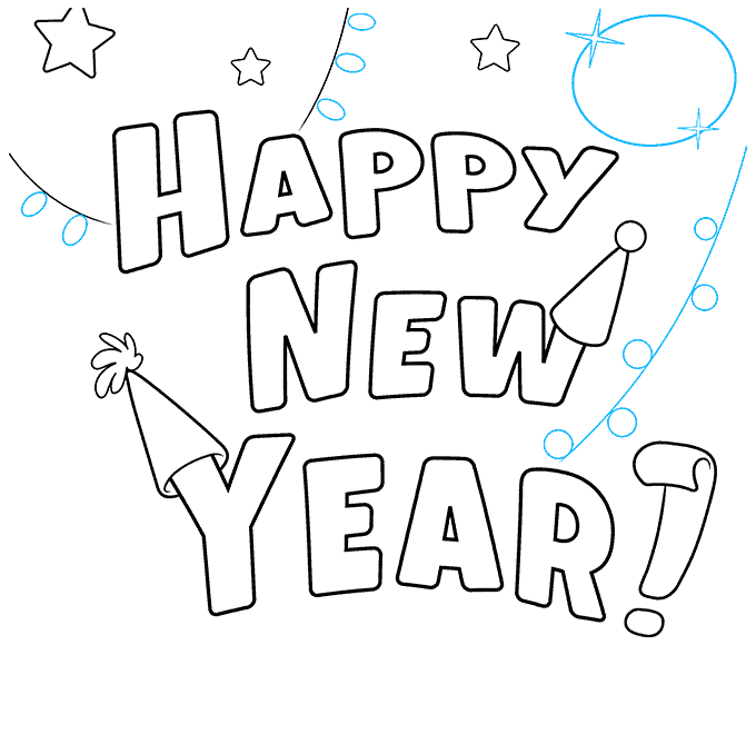 How to Draw Happy New Year Card: Step 6