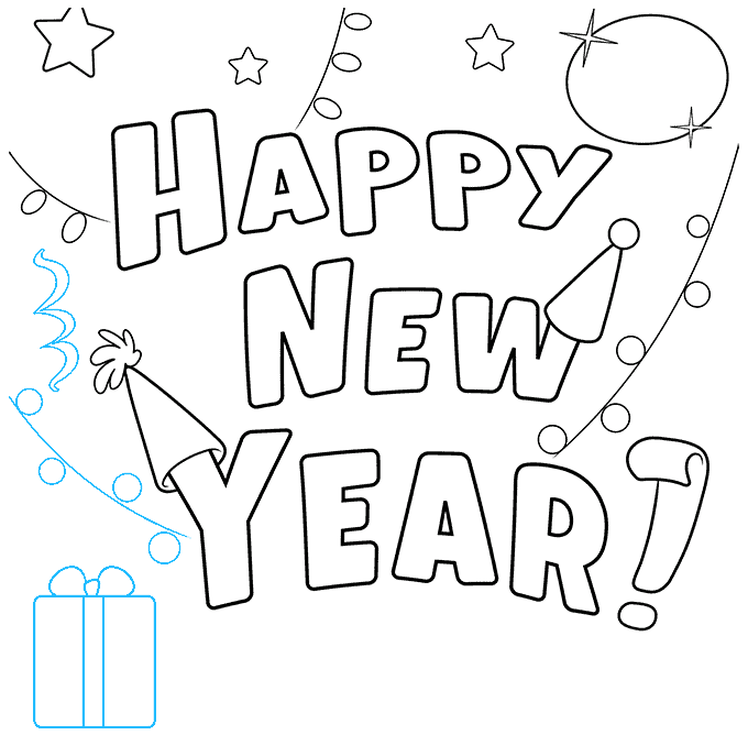 How to Draw Happy New Year Card: Step 7