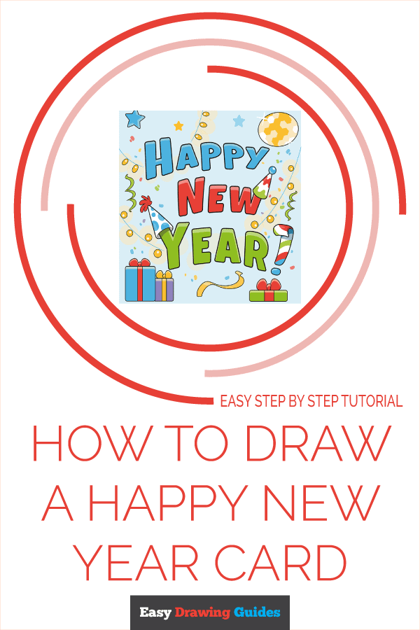 How to Draw Happy New Year Card | Share to Pinterest