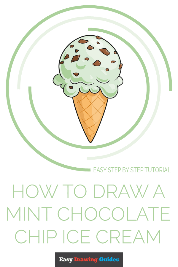How to Draw Mint Chocolate Chip Ice Cream | Share to Pinterest