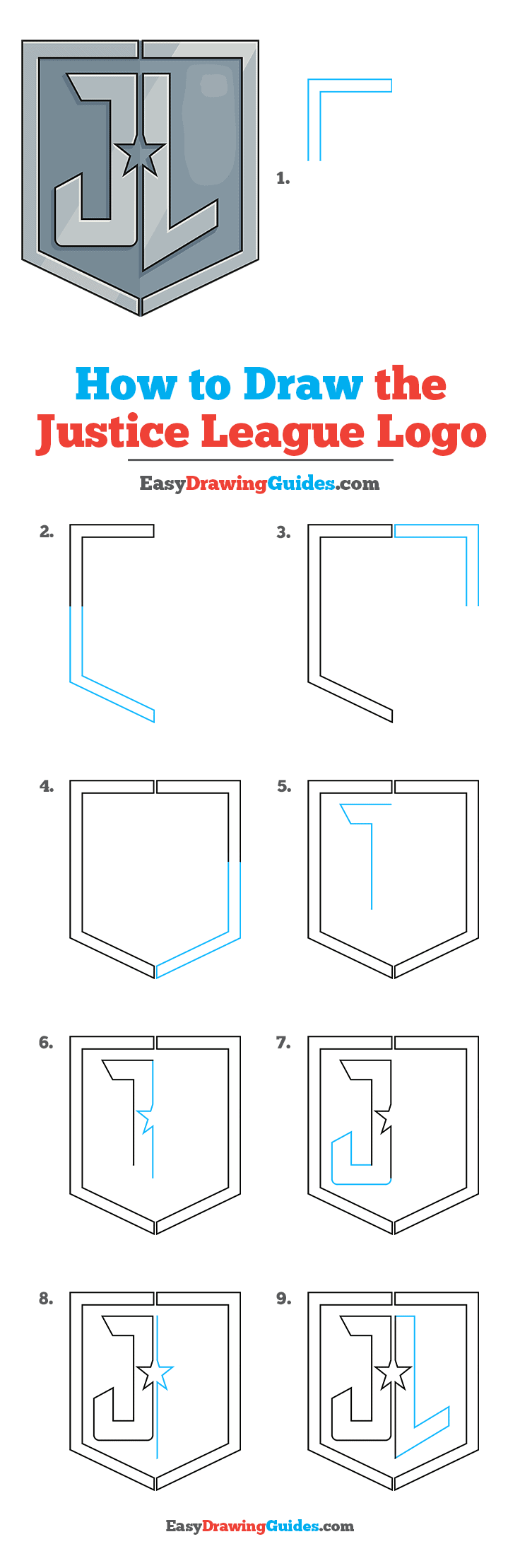 How to Draw the Justice League Logo Step by Step Tutorial Image