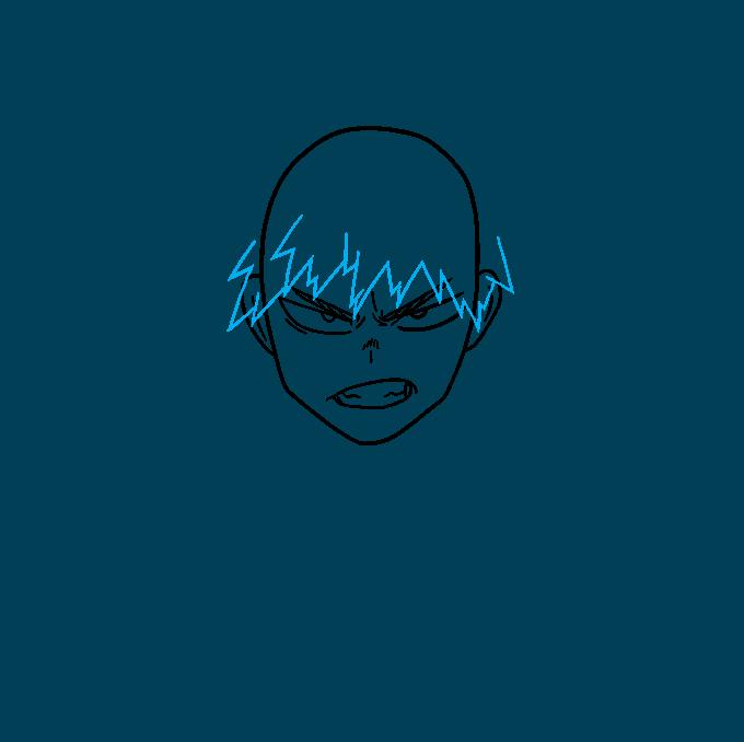 How to Draw Katsuki Bakugo from My Hero Academia Step 03