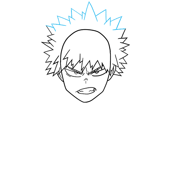How to Draw Katsuki Bakugo from My Hero Academia Step 05