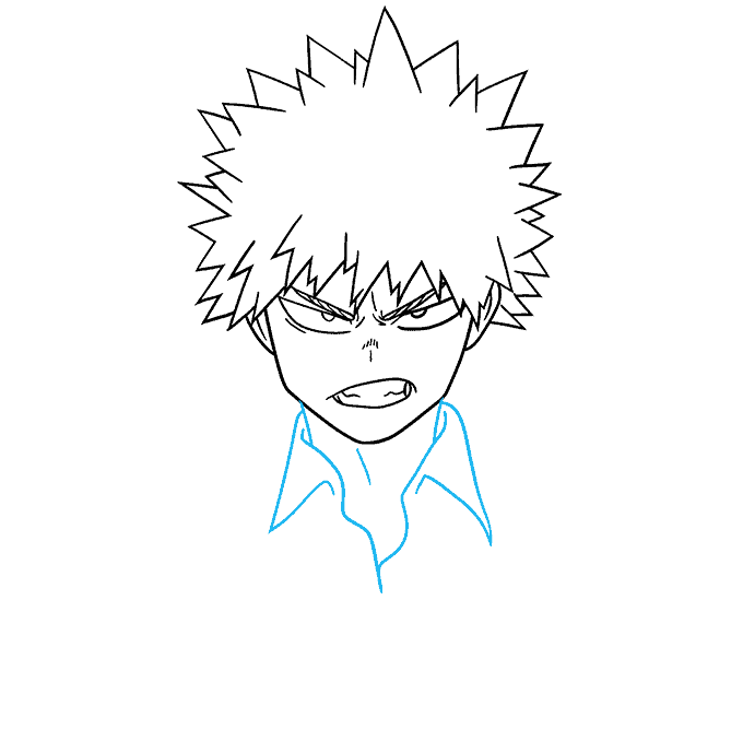 How to Draw Katsuki Bakugo from My Hero Academia Step 06
