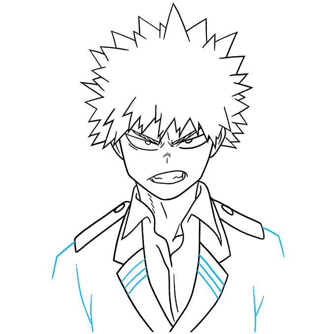 How to Draw Katsuki Bakugo from My Hero Academia Step 09