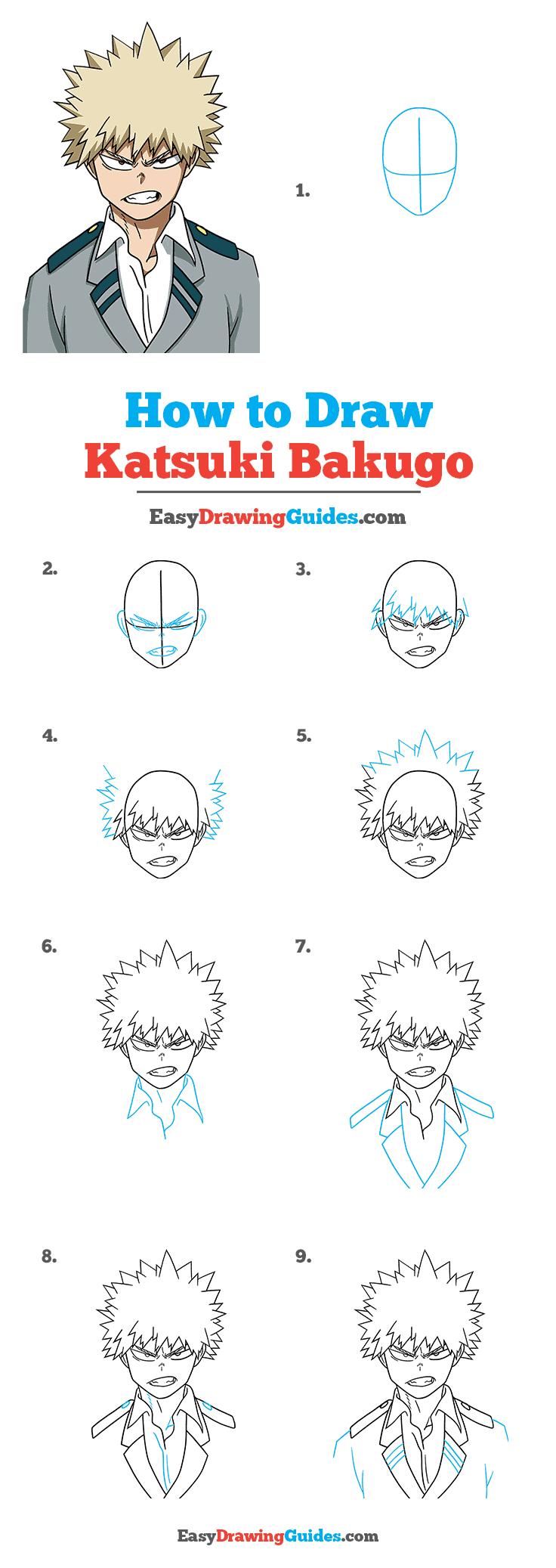 How to Draw Katsuki Bakugo from My Hero Academia Step by Step Tutorial Image