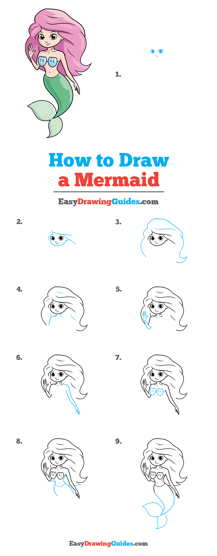 How to Draw a Mermaid Step by Step Tutorial Image
