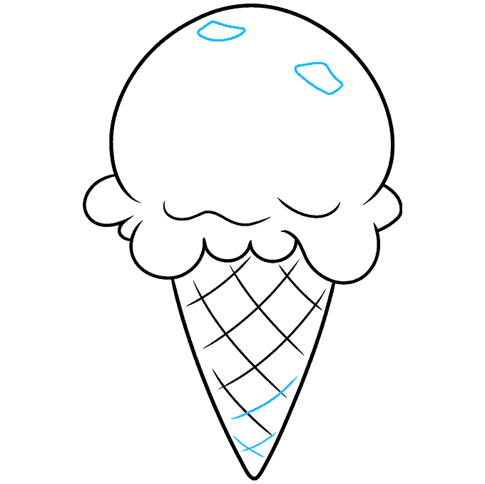 How to Draw a Mint Chocolate Chip Ice Cream Step 07