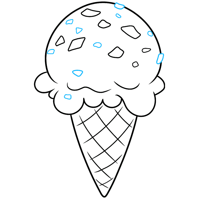 How to Draw Mint Chocolate Chip Ice Cream: Step 9