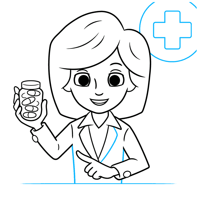How to Draw Pharmacist: Step 9