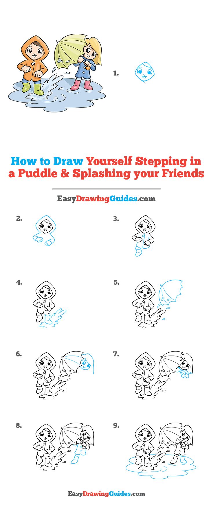 How to Draw Yourself Stepping in a Puddle and Splashing your Friends