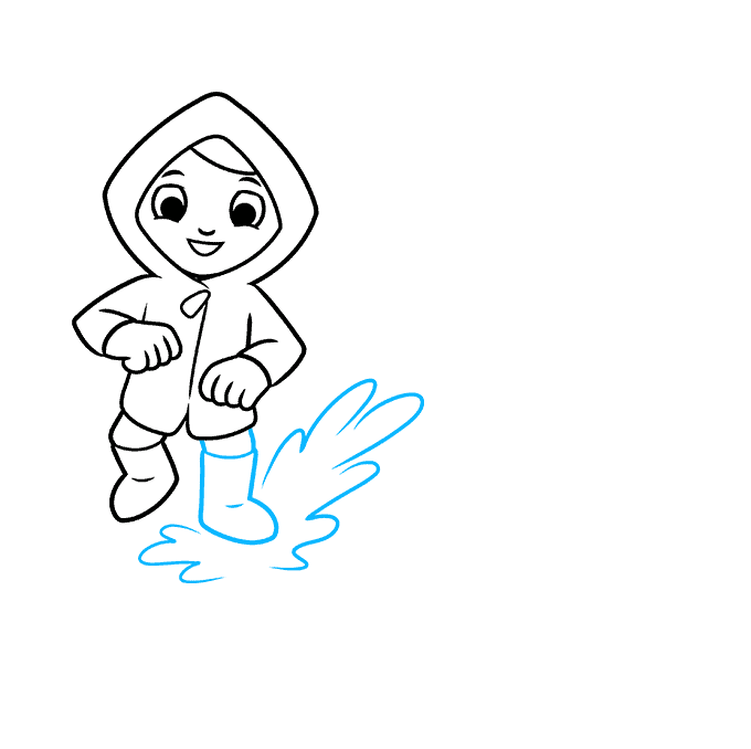 How to Draw Yourself Stepping in a Puddle and Splashing your Friends: Step 4