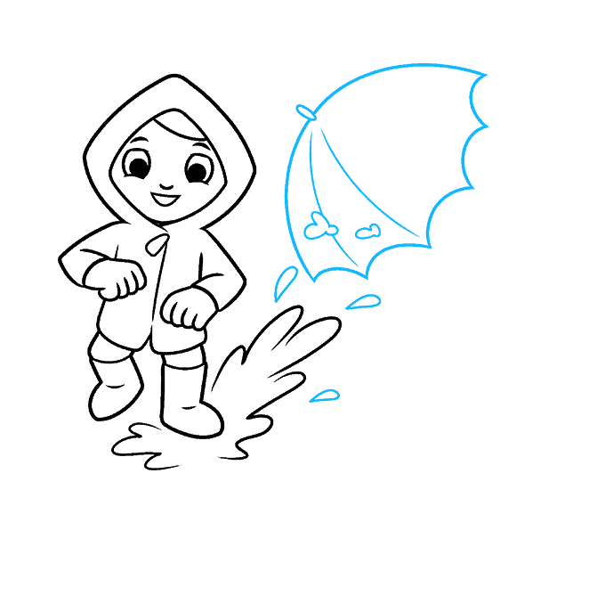 How to Draw Yourself Stepping in a Puddle and Splashing your Friends: Step 5