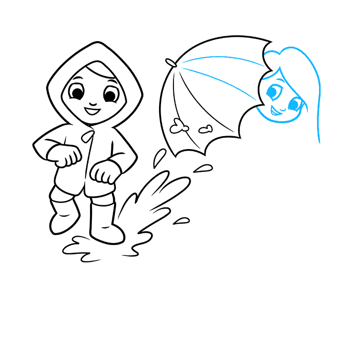 How to Draw Yourself Stepping in a Puddle and Splashing your Friends: Step 6