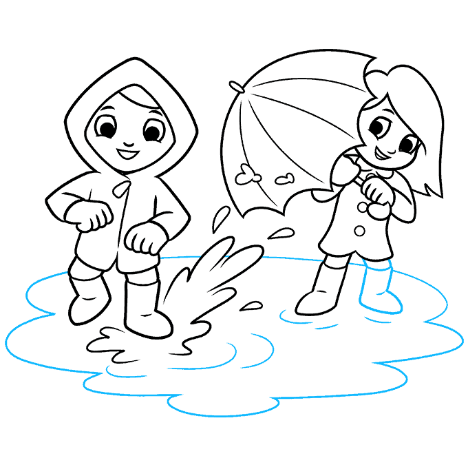 How to Draw Yourself Stepping in a Puddle and Splashing your Friends: Step 9