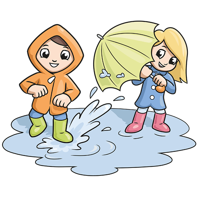 How to Draw Yourself Stepping in a Puddle and Splashing your Friends: Step 10
