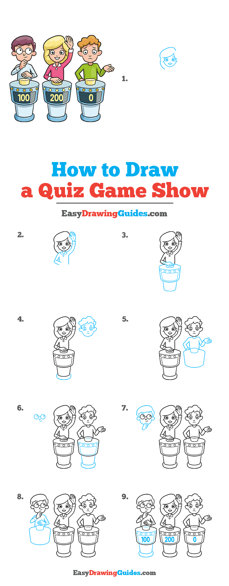 How to Draw a Quiz Game Show Step by Step Tutorial Image