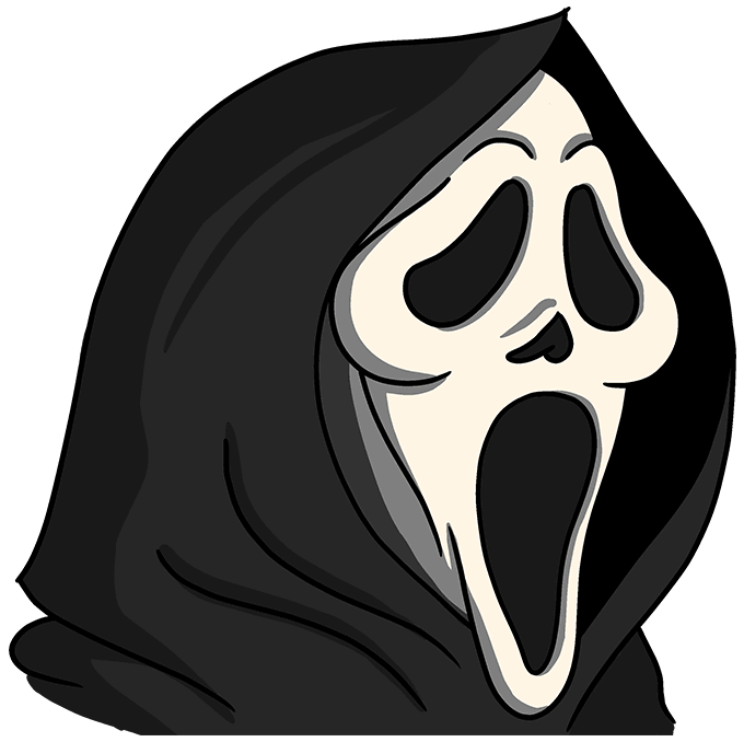 How to Draw the Scream Mask Step 10