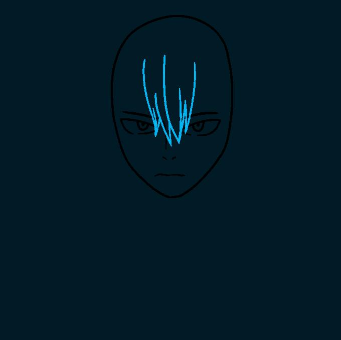 How to Draw Shoto Todoroki from My Hero Academia Step 03