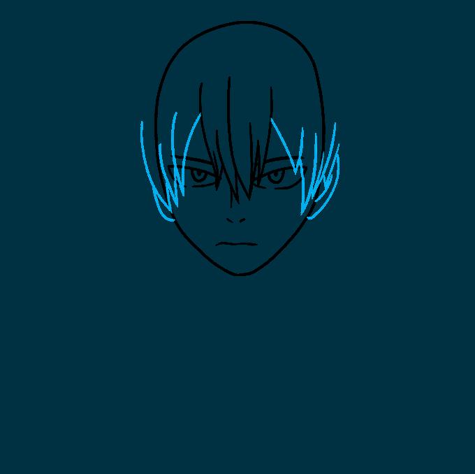 How to Draw Shoto Todoroki from My Hero Academia Step 04