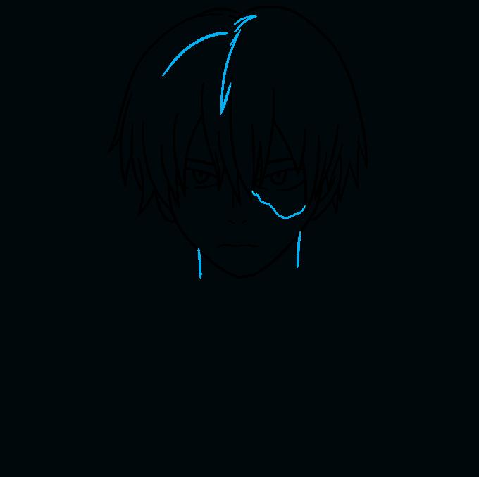 How to Draw Shoto Todoroki from My Hero Academia Step 06
