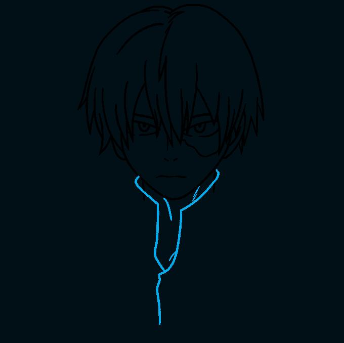 How to Draw Shoto Todoroki from My Hero Academia Step 07