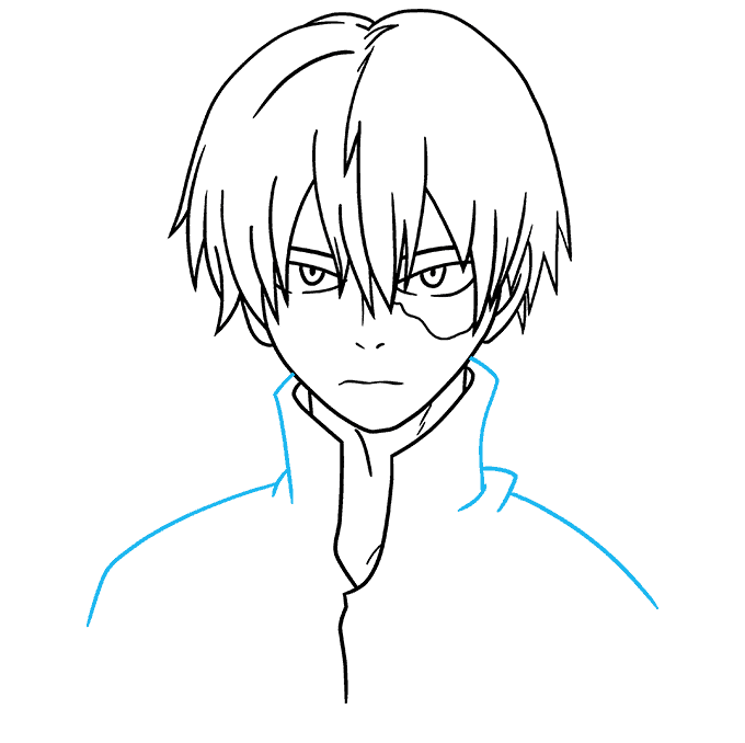 How to Draw Shoto Todoroki from My Hero Academia Step 08