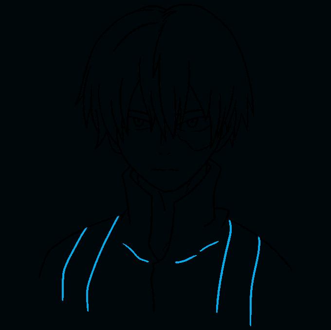 How to Draw Shoto Todoroki from My Hero Academia Step 09