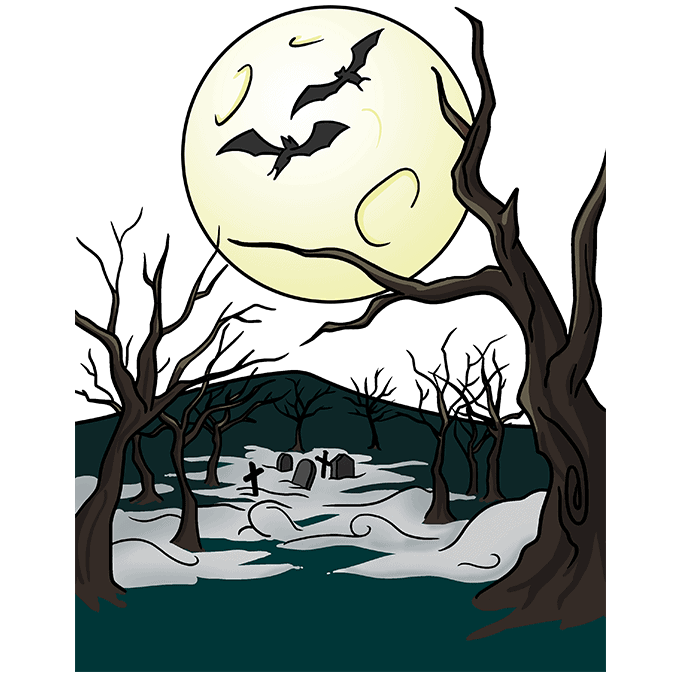 How to Draw a Spooky Forest Step 10