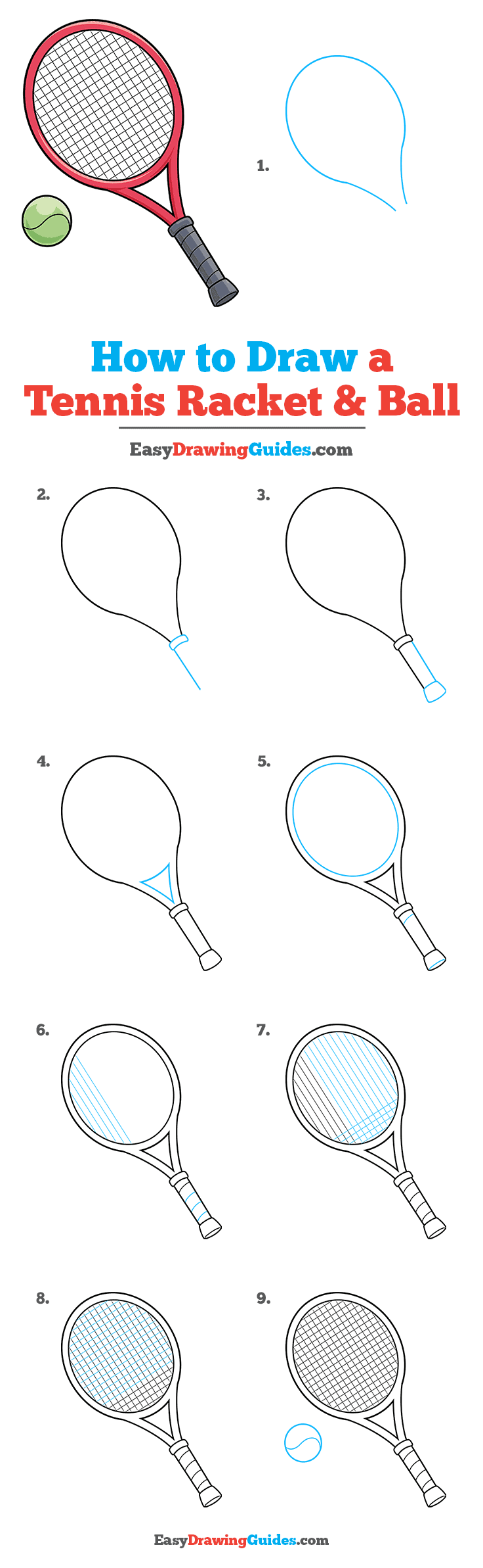 how to Draw a Tennis Racket and Ball Step by Step Tutorial Image