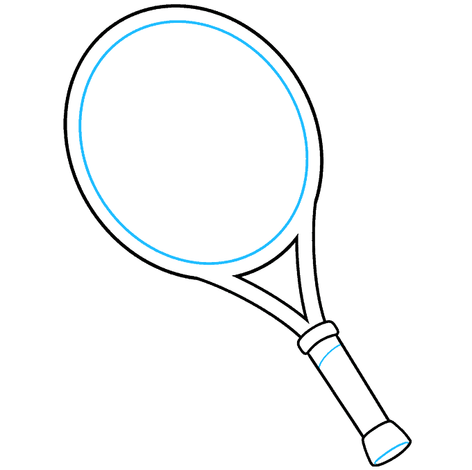 how to Draw a Tennis Racket and Ball Step 05