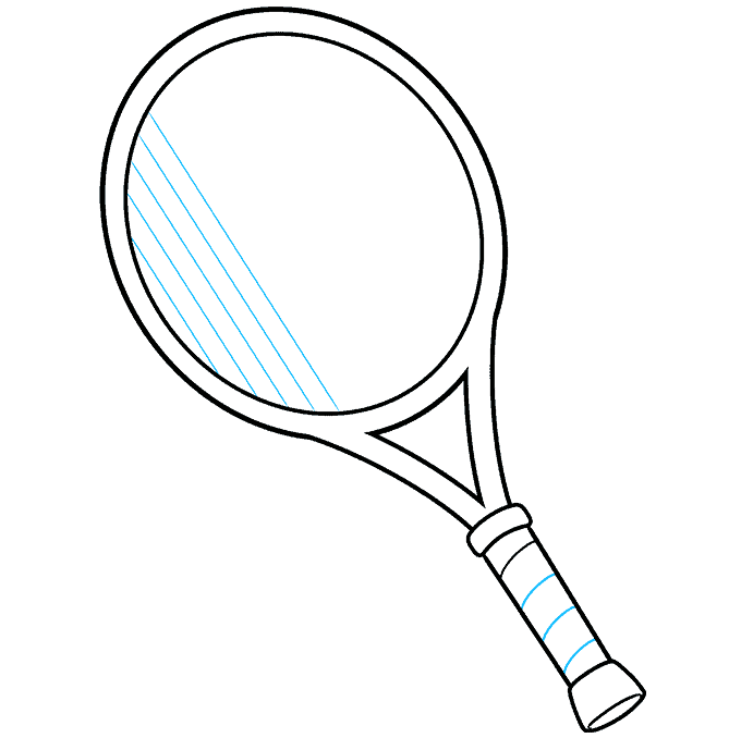 how to Draw a Tennis Racket and Ball Step 06