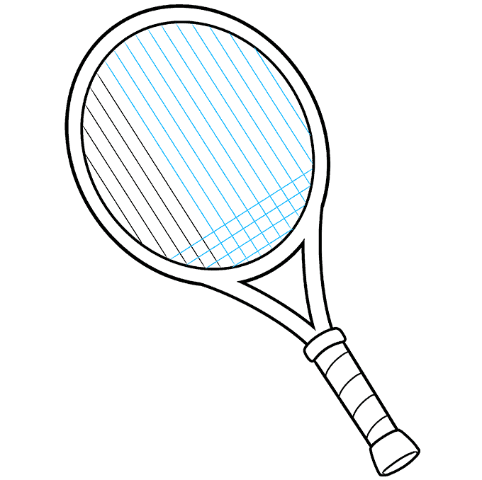 how to Draw a Tennis Racket and Ball Step 07