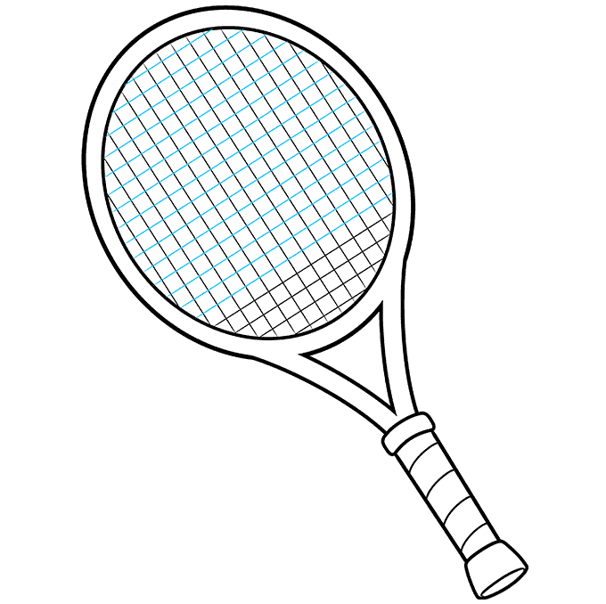 how to Draw a Tennis Racket and Ball Step 08