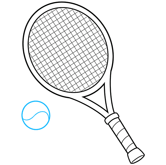 how to Draw a Tennis Racket and Ball Step 09