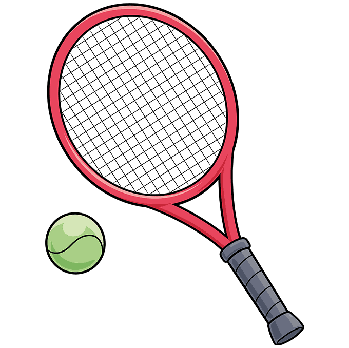 how to Draw a Tennis Racket and Ball Step 10