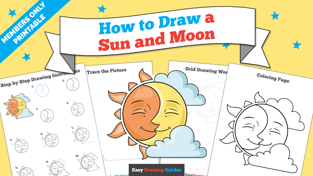 download a printable PDF of Sun and Moon drawing tutorial