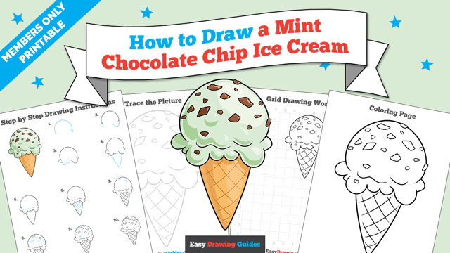 Printables thumbnail: How to Draw a Mint Chocolate Chip Ice Cream