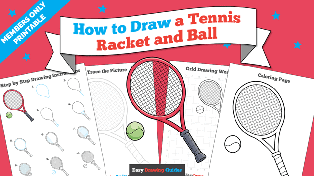 download a printable PDF of Tennis Racket and Ball drawing tutorial