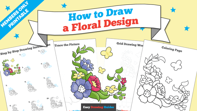 download a printable PDF of Floral Design drawing tutorial