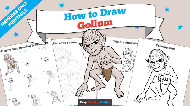 download a printable PDF of Gollum drawing tutorial