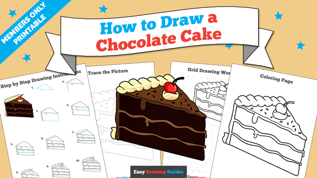 download a printable PDF of Chocolate Cake drawing tutorial