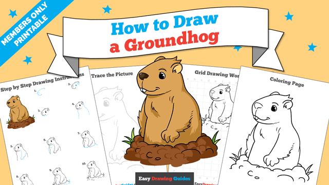 download a printable PDF of Groundhog drawing tutorial