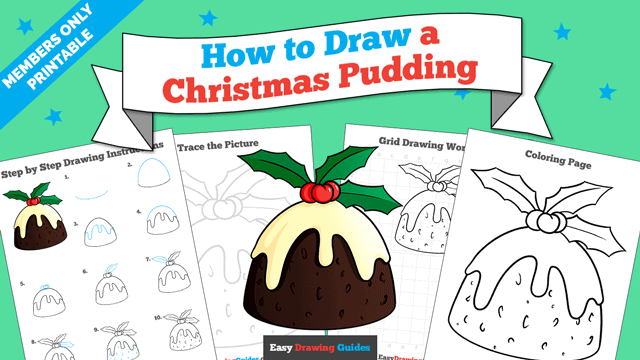 download a printable PDF of Christmas Pudding drawing tutorial