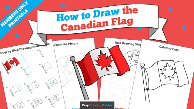 download a printable PDF of Canadian Flag drawing tutorial