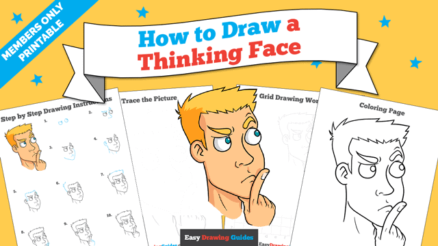 download a printable PDF of Thinking Face drawing tutorial