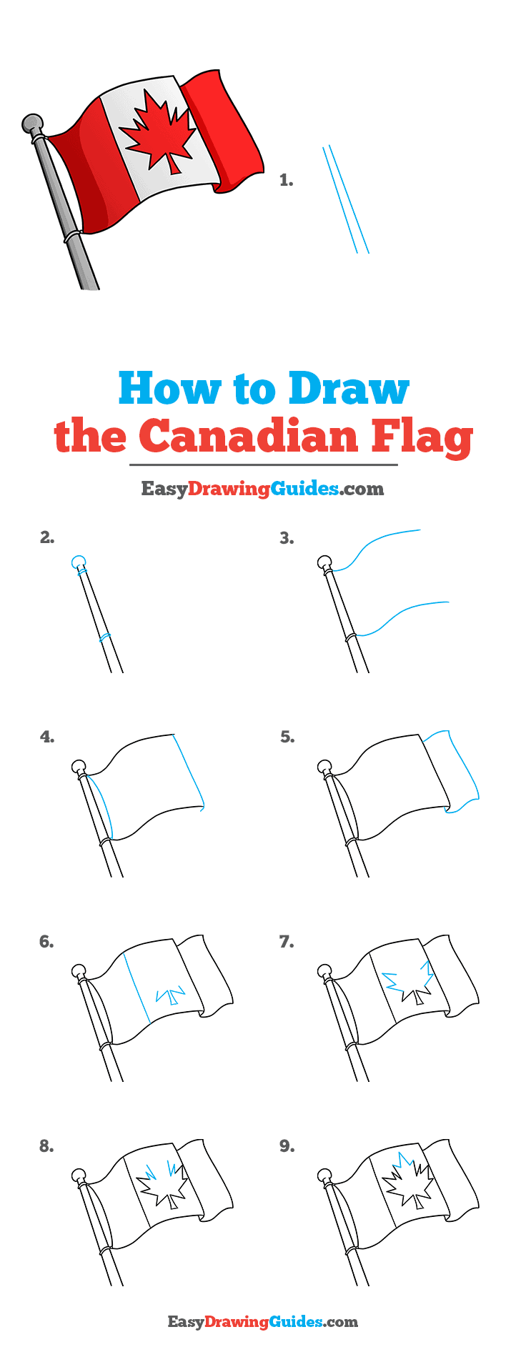 How to Draw the Canadian Flag Step by Step Tutorial Image