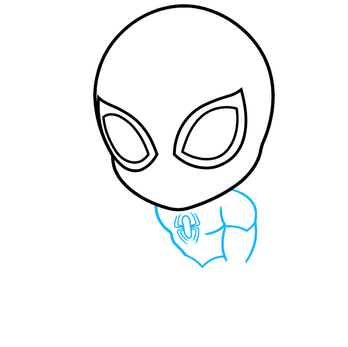 How to Draw Chibi Spider-Man: Step 2