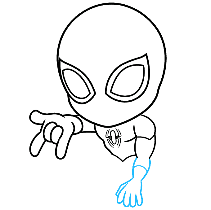 How to Draw Chibi Spider-Man: Step 4